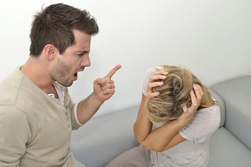 Man being angry at woman and using violence